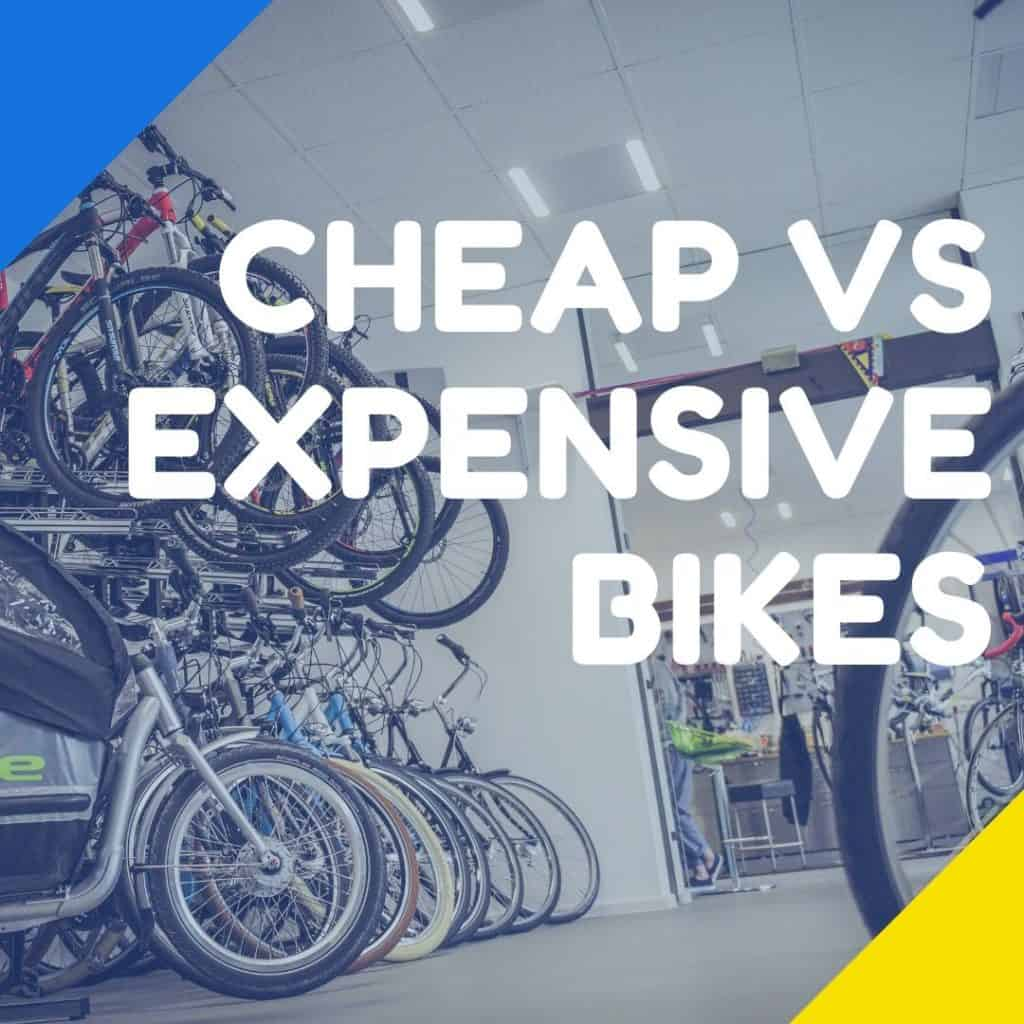 """the insides of a bicycle shop with the text overlay """"cheap vs expensive bikes"""""""